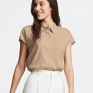 Uniqlo Linen Blend Short Sleeve Blouse
